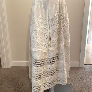 LoveShackFancy Solstice Embroidered Long Skirt